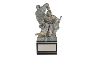 SALE! Male Back to Back Hockey Sculpture: 7-3/4""