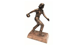 SALE! Female Bronzetone Bowling Sculpture: 8""
