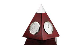 Rotating Rosewood Pyramid Clock and Weather Station: 6-1/2""
