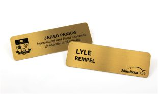 "3"" x 1"" Brass Name Tag with Pin Back"