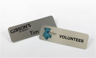 "3"" x 1"" Silver Aluminum Name Tag with Magnetic Back"