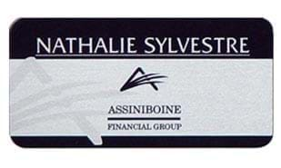 "3"" x 1-1/2"" Silver Aluminum Name Tag with Pin Back"