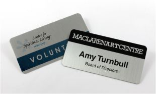 "3"" x 1-1/2"" Silver Aluminum Name Tag with Magnetic Back"