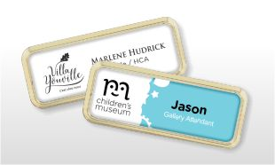 "Plastic Gold Rounded Holder with White Badge & Magnetic Back: 3"" x 1"""