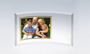 "Crescent Glass Award with Gold Frame: 6-1/2"" x 12-3/4"""