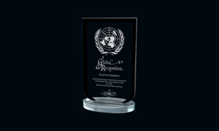 Black Laurier Series Glass Award: 7-1/2""