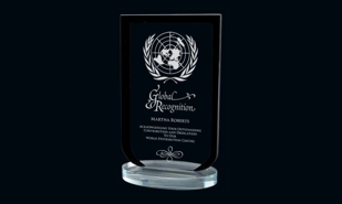 Black Laurier Series Glass Award: 9""