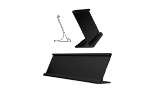 "Black Aluminum Desk Holder: 8"" x 2"""