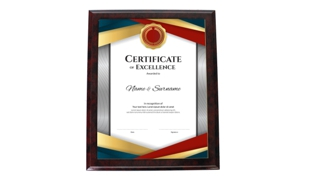 Red Marble Laminate Certificate Holder: 10-1/2 x 13""
