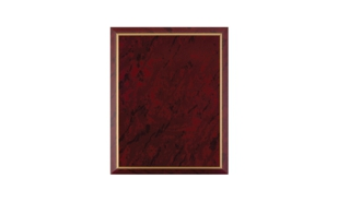 "Red Marble Laminate Plaque with Gold Trim: 7"" x 9"""