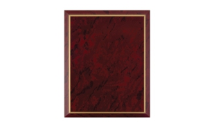 "Red Marble Laminate Plaque with Gold Trim: 9"" x 12"""