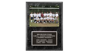 "Black Marble Laminate Photo Plaque: 9"" x 12"""