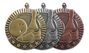 "2 3/4"" Five Star Bowling Medallion - 10 Pin"