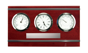 Horizontal Rosewood Piano Finish Clock Weather Station