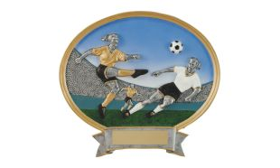 SALE! Female Full Colour Soccer Oval Sculpture: 8""