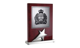 "4 3/4"" x 6"" Stand-up Rosewood Star Award Plaque"