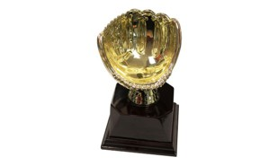 Bright Gold Baseball/Fastball Glove Ball Holder Trophy: 6""