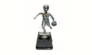 Pewter and Gold Tone Female Basketball Bobblehead Trophy: 8-1/4""