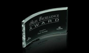 "Jade Crescent Glass Award: 7"" x 13"""