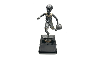 Pewter and Gold Tone Male Basketball Bobblehead Trophy: 8-1/4""