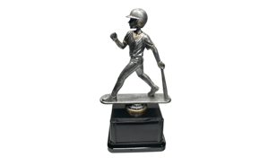 Pewter and Gold Tone Male Baseball Bobblehead Trophy: 8-1/2""