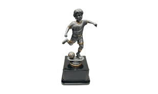 Pewter and Gold Tone Male Soccer Bobblehead Trophy: 8""