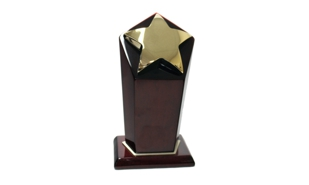 Gold Star Award on a Rosewood Piano Finish Pedestal: 8-1/2""