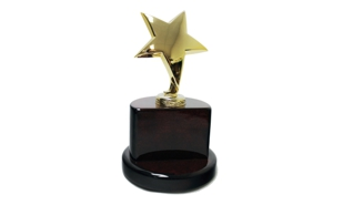 Gold Star Award on a Rosewood Piano Finish Base: 8""