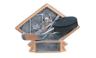 "6"" x 4-1/2"" Pewter and Gold Hockey Action Sculpture Platter"