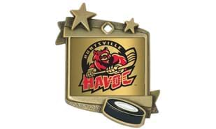 "Stardust Hockey Medallion:Antique Gold 1-3/4"" x 2-1/4"""