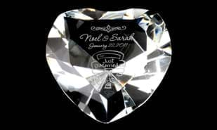 "3-1/4"" x 3-1/4"" Heart Shaped Optic Crystal Paperweight"