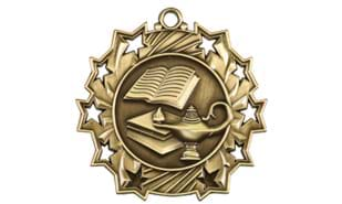 "2 1/4"" Ten Star Lamp of Knowledge Medallion"