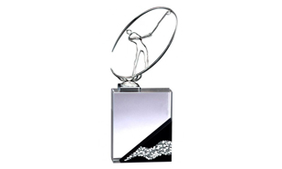 "4"" x 10-1/2"" Metal Golfer with Metallic Pebble Base Glass Award"
