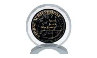 "5-1/2"" x 6"" Meridian Series Glass Award"