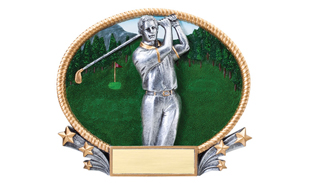 SALE! 3D Full Color Male Golfer Oval Plate: 7""
