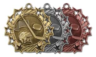 Ten Star Hockey Medallion: Antique Bronze 2-1/4""