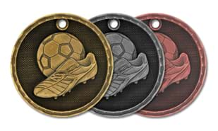 3D Soccer Medallion: Antique  Bronze 2""