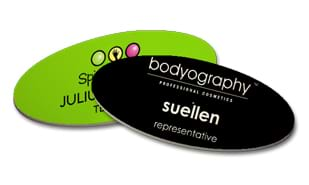 "Ultrawhite OVAL Name Tag with Magnetic Back: 3"" x 1-1/2"""