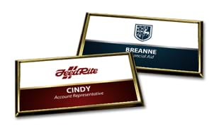 "3"" x 1-1/2"" Plastic Gold Beveled Holder with White Badge & Magnetic Back"