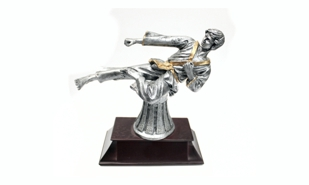Pewter and Gold Tone Martial Arts Sculpture: 6""