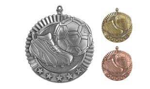 Five Star Soccer Medallion: Antique Silver 2-3/4""