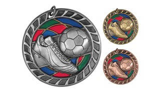 Stained Glass Soccer Medallion: Antique Gold 2-1/2""