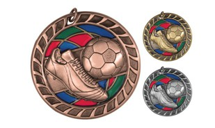 Stained Glass Soccer Medallion: Antique Bronze 2-1/2""