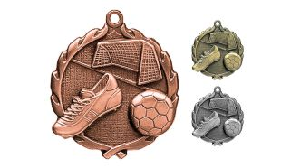 "Antique Bronze 2-1/2"" Sculptured Soccer Medallion"