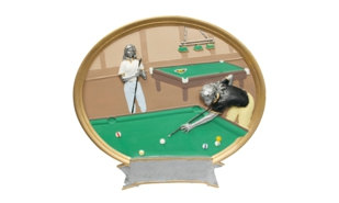 Female Billiards Platter Sculpture: 8""
