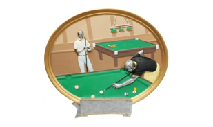 Male Billiards Platter Sculpture: 8""