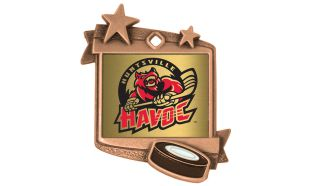 "Antique Bronze 1-3/4"" x 2-1/4"" Stardust Hockey Medallion"