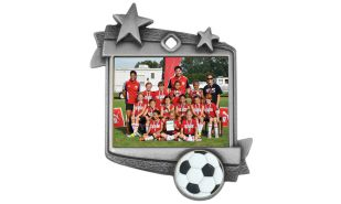 "Stardust Soccer Medallion: Antique Silver 1-3/4"" x 2-1/4"""