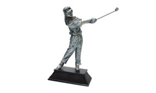 Pewter and Gold Tone Female Golf Sculpture: 8-1/2""
