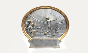 Female Baseball Platter Sculpture: 5-3/4""